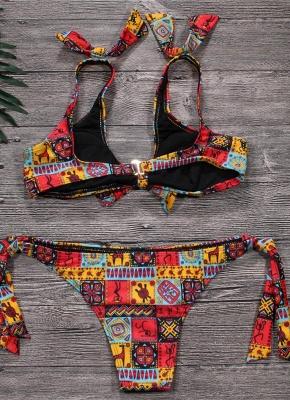 Geometric Print Bowknot Bandage Wireess Padded Sexy Bikini Set_3