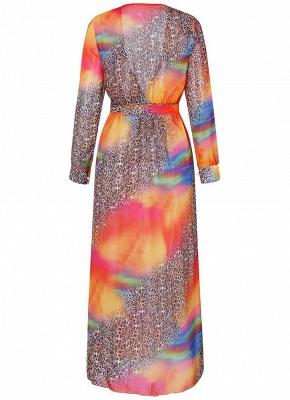 Chiffon Leopard Contrast Color Split Cardigan Kimono Beach Maxi Coverups_4