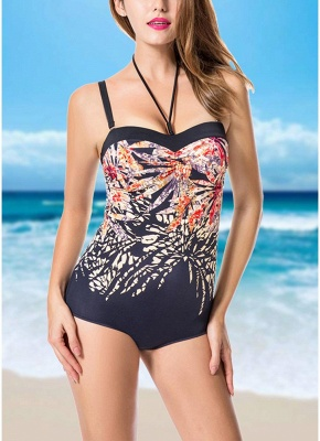 Plus Size Print Halter Backless Sleeveless Strappy One Piece Swimsuit_1