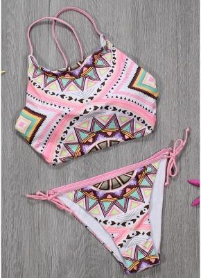 Women Sexy Bikini Set Halter Geometric Print Wireless Swimwear Swimsuits Two Piece Beach Wear_3