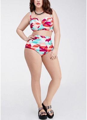 Plus Size Geometric High Waist Sexy Bikini Set_6