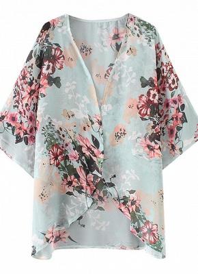 Summer Women Floral Chiffon Cardigan Open Front Half Sleeve Kimono_5