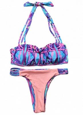 Women Strappy Halter Sexy Bikini Set Contrast Print Backless Low Waist Cutout Thong Biquini  Swimsuit_2