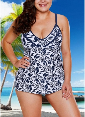 Women Plus Size Swimsuit Two Piece Set Plunge V Leaves Print Wirless Padded Cross Over Strap_1