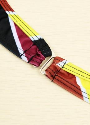 Contrast Stripe Underwire Padded Cup Tie Sexy Bikini Set Swimsuit_17