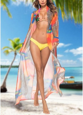 Women Leopard Print Chiffon Cardigan Sexy Bikini CoverUp Beach Boho Outwear Maxi Coverups_2