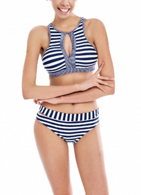 Striped Cut Out Tie Back Padded Sexy Bikini Set_1