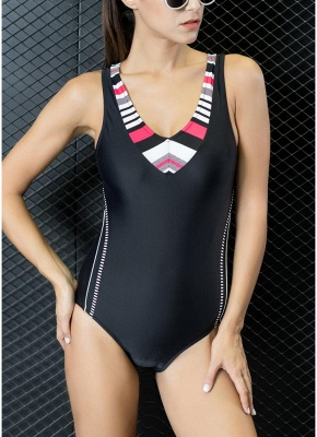Women Sporty One-Piece Swimsuit Cut Out Racer Back Padded  Playsuit_2