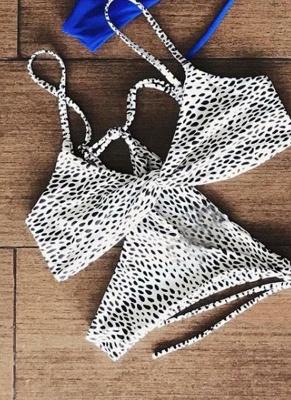 Women Soid Ruched Bandage Strappy Two-Piece Sexy Bikini Set_1