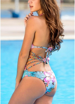 Women One Piece Swimsuit Deep V Halter Floral Letters Butterfly Print Bandage Cut Out Backless  Monokini_3