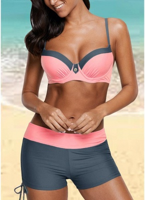 Color Block Patches Underwire Push Up Padded Sexy Bikini_1