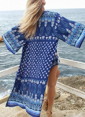 l Print Chiffon Open Front Three Quarter Sleeve Long Kimono_2