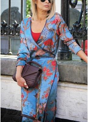 Vintage Women Kimono Floral Bird Print V Neck Tied Ethnic Oriental Outerwear_4
