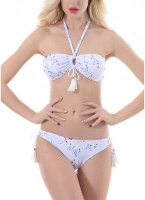 Women Sexy Bikini Set Swimsuit  Tie Halter Keyhole Tassel Padded Two Piece Swimwear Beachwear_2