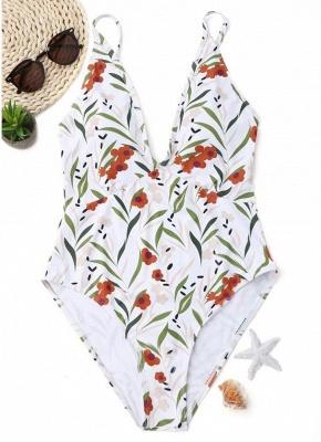 Women Floral One Piece Halter Swimsuit Sleeveless Backless Beachwear_1