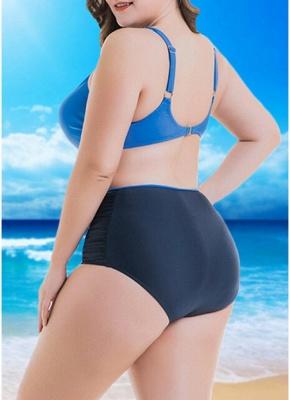 Women  Sexy Bikini Set Color Splice Padded Underwire High Waist Swimsuit Beach Wear_4