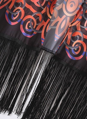 Chiffon Geometric Print Fringe Loose Long Kimono_7