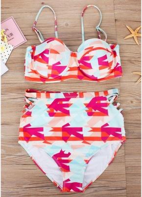 Plus Size Geometric High Waist Sexy Bikini Set_5