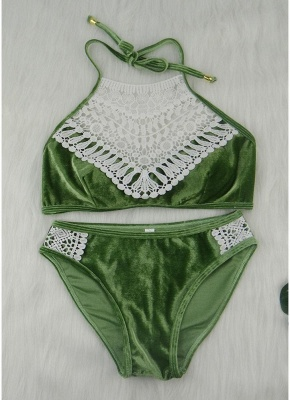 Velvet Crochet Lace Halter Neck Push Up Low Waist Sexy Bikini Set_3