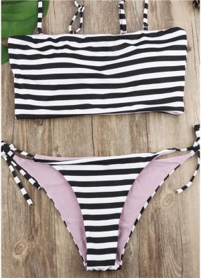 Women Striped Sexy Bikini Set Spaghetti Strap Summer Beach Swimwear_1