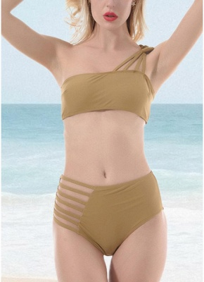 Women One Shoulder Hollow Out Side Bandage High Waist Padded Wireless Two Piece Sexy Bikini Set_1