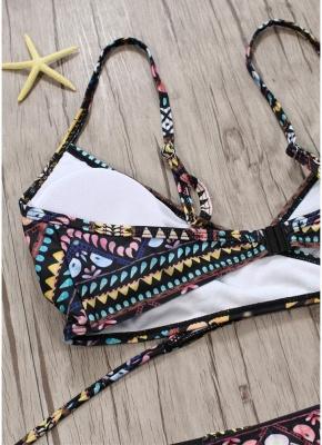 Women Exotic Print Sexy Bikini Set Cross Front Bandage Swimsuit_4