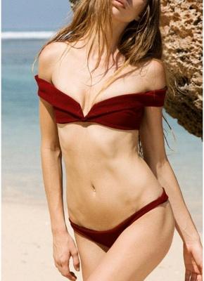Women Two Piece Sexy Bikini Set Solid  Brazilian Bathing Suit?_1