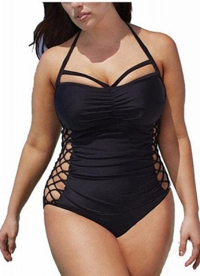 Women One-Piece  Criss Cross Lace Padding Wireless Swimwear Swimsuits_1