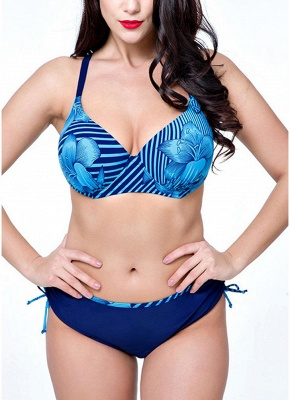 Plus Size Floral Print Underwire Padding Sexy Bikini Set_7
