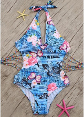 Women One Piece Swimsuit Deep V Halter Floral Letters Butterfly Print Bandage Cut Out Backless  Monokini_4