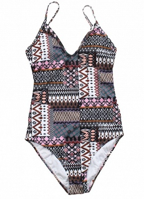Women Spaghetti Strap One-Piece Swimsuit Totems Print Monokini Push Up Padded Sexy Bikini Swimwear_1