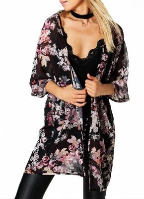Fashion Chiffon Loose Cardigan Front Floral Print Vintage Women's Kimono_1
