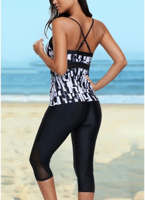 Vintage Women Tankini Capris Deep V Printed Cross Over Backless Swimsuit_4