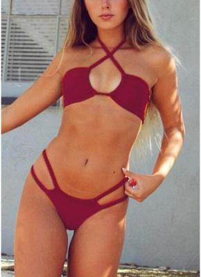 Women Cut Out Sexy Bikini Set Halter Padded Bandage Swimsuit  Swimwear_1