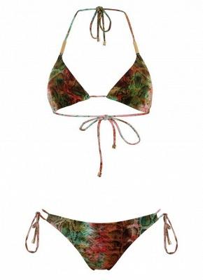 Women Halter Snakeskin Print Padded Wireless Sexy Bikini Set_4