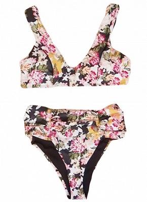 Women Flower Sexy Bikini Set V-Neck Sleeveless Padding Print Bathing Beach Swimwear Swimsuit_3