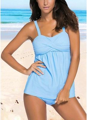 Women Push Up Tankini Set Padding Wireless Low Waist Beach Bathing_2