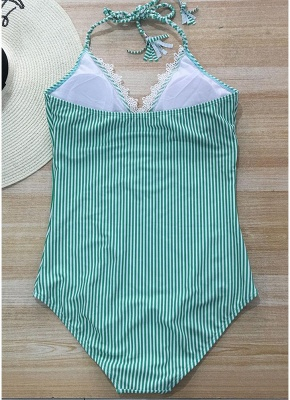 Halter Striped Lace Backless Wireless Monokini Women One Piece_8