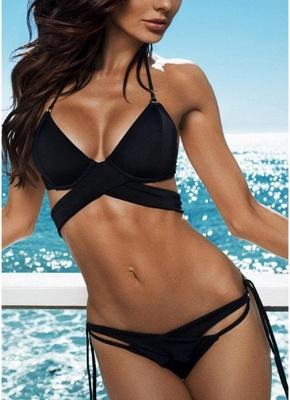 Women Solid Cross Halter Sexy Bikini Swimwear Set_4