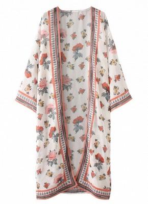 Women Chiffon Kimono Cardigan Sexy Bikini Cover Ups Flower Print Boho Long Beachwear_5