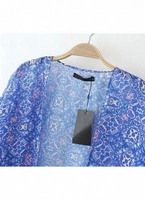 Vintage Retro Print Tassel Fringe Sheer Chiffon Blue Kimono_5