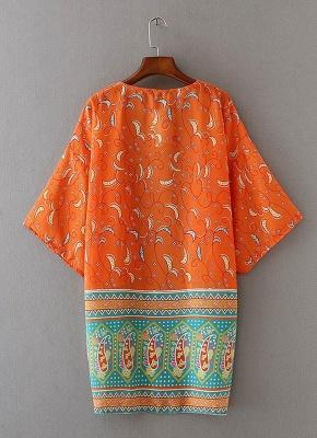 Chiffon Open Front Geometric Print 3/4 Batwing Sleeve Thin Kimono_4