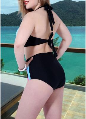Women Plus Size Swimsuit Two Pieces Color Block Halter Underwire Bathing_4