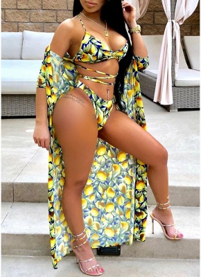 Women Sexy Bikini Set Cover-Up Floral Print  Halter Bandage Padding  Beach Wear Three Piece Yellow_1