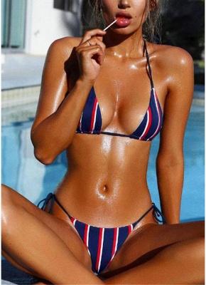 Halter Push Up Striped Tie Waist Padded Women Sexy Bikini Set_2