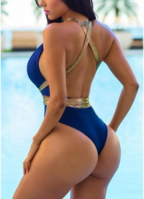 Contrast Color Metallic Plunging Halter Backless One-piece Swimsuit_3