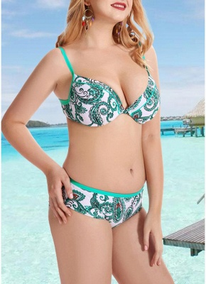 Women Plus Size  Sexy Bikini Set Underwire Swimsuit Beach Wear Two Piece_5