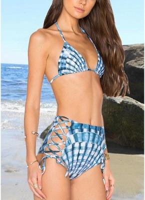 Women Two Piece Sexy Bikini Set Halter Plaid Print Padded Bandage Criss Over High Waist  Swimwear_4