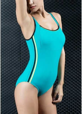 Women Sports One Piece Swimsuit Swimwear Backless Splice Racing Training Bathing Suit_5