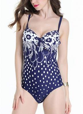 Plus Size Floral Print Hollow Out Shoulder Strap One Piece Swimsuit_2